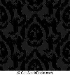 Damask ikat black elegant seamless vector wallpaper pattern.