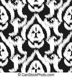 Damask ikat seamless vector wallpaper pattern.