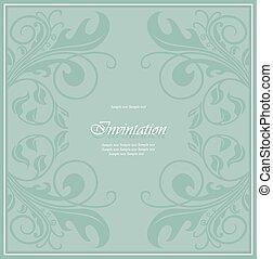 Damask invitation vintage card