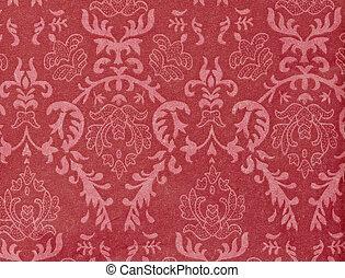 damask-like, ornamental, mönster, bakgrund, årgång, röd