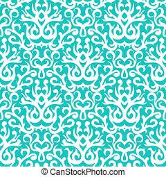 Damask pattern in white on turquoise - Vintage vector damask...