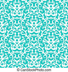 Vintage vector damask pattern with abstract shapes in white and aqua blue. Texture for web, print, wallpaper, winter fashion, Christmas background, wedding gift wrapping paper or holiday home decor