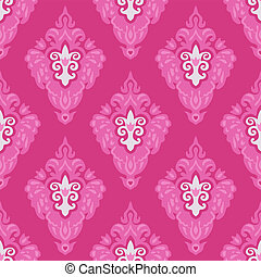 Damask pink floral design seamless