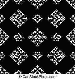 Damask seamless black and white vector wallpaper