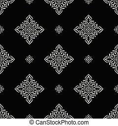 Damask seamless black and white vintage vector wallpaper