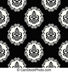 Damask seamless black and white wallpaper
