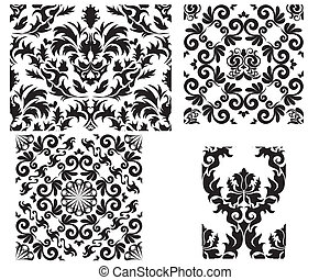 damask seamless pattern - Damask seamless background for...