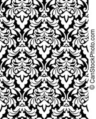 Damask seamless pattern for background design in white and ...