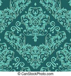 Damask seamless pattern. Light turquoise floral ornate backgroun