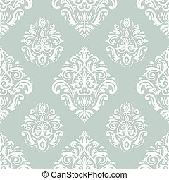 Damask Seamless Pattern. Orient Background with Blue and...