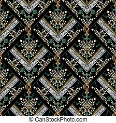 Damask seamless pattern. Vector black floral background. Baroque