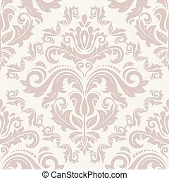 Damask seamless pattern. Fine vector traditional ornament with oriental elements. Purple and pink colors