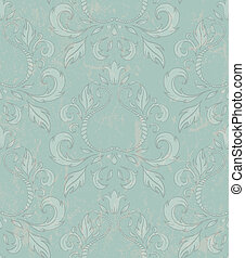 Damask seamless wallpaper with grunge effect.