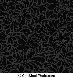 Damask Teardrop Black Ornament, seamless pattern