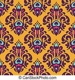 Damask vector festive yellow abstract pattern