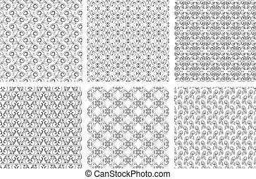 Damask vector oriental floral vintage seamless pattern set. Calligraphic patterns from curls on white background