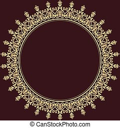 Damask vector floral pattern with arabesque and oriental round golden elements. Abstract traditional ornament for wallpapers and backgrounds