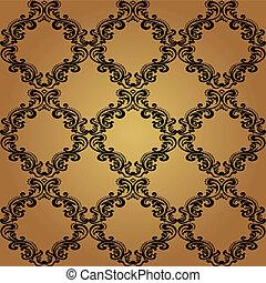 Damask vintage floral seamless pattern background. - Damask...