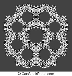 Damask wallpaper. Circle lace ornament, round ornamental geometric doily pattern, christmas snowflake decoration. Vector illustration.