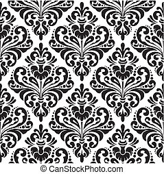 Damask wallpaper - Black and white seamless damask wallpaper...