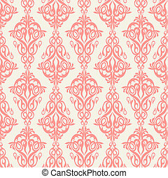 Damask wallpaper, seamless pattern. Vector illustration.