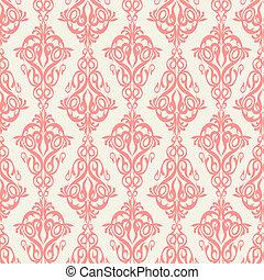 Damask wallpaper, seamless pattern. Vector illustration.