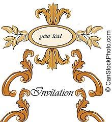 damast, ornament, goud, uitnodiging