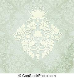 damast, ouderwetse , seamless, elegant, achtergrond, kaart, (background