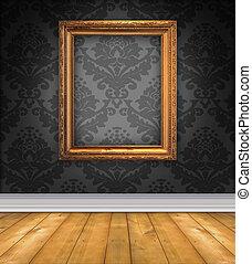 damast, rum, med, tom bild inrama