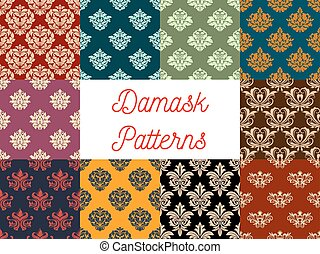 damast, set, model, ornament, bloemrijk, vector, floral