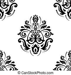 damaszt, pattern., seamless, vektor, háttér, hajnal