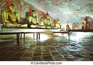DAMBULLA - OCTOBER 15: Dambulla cave temple is the large...