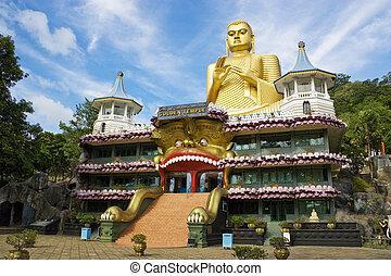 dambulla, tempio, dorato, sri lanka
