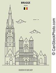 dame, église, brugge, repère, belgium., icône, notre