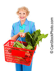 dame, épicerie commerciale, personne agee