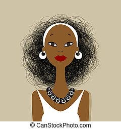 dame a peau noire , conception, ton, figure