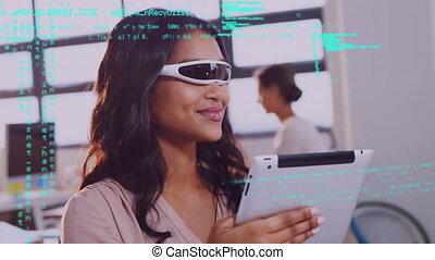 dame a peau noire , virtuel, casque à écouteurs, porter, réalité