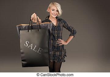 dame, achats, jeune, sac