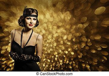 dame, auf, frau, machen, stil, haar, elegant, mode, schwarz, retro, modell, kleiden