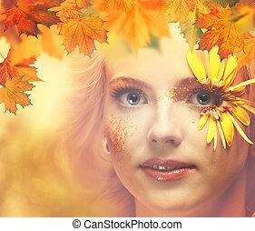 dame, autumn., seizoenen, vrouwlijk, verticaal, voor, jouw, ontwerp