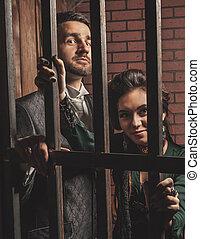 dame, barres, monsieur, derrière, prison.