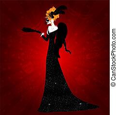 dame, black , masker