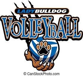 dame, bouledogue, volley-ball