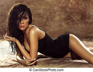dame, brunette, het poseren, sensueel, lingerie.