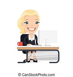 dame, business, elle, bureau