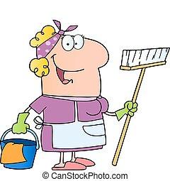 dame, caractère, nettoyage, dessin animé