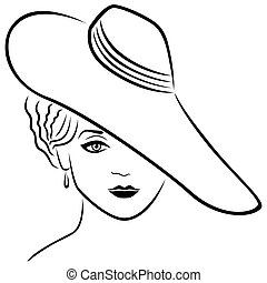 dame, chapeau, jeune