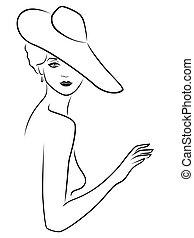dame, chapeau, poser, jeune