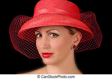 dame, chapeau, retro