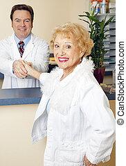dame, docteur, personne agee, elle, rencontre